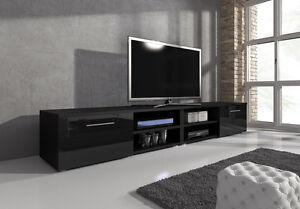 Meuble-TV-Armoire-Vegas-240-cm-Corps-Noir-Mat-Noir-Brillant-Avant