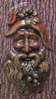 Garden Accent Tree Face Old Man Wall Fence Shed Wood Toned Polyresin 2