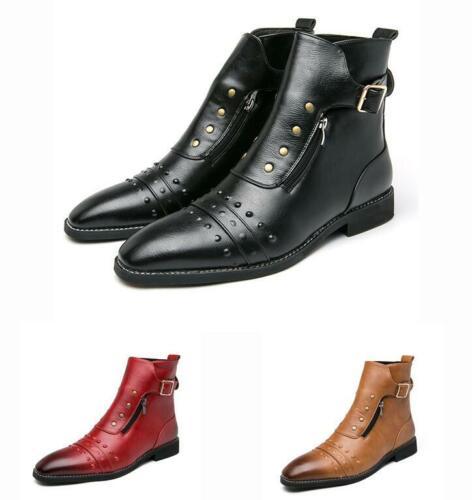 Herrenschuhe Clubwear Ankle Boots Punk Nieten Metallisch Spitz Schnalle 46 Neu L