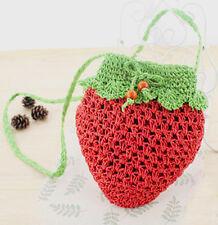 Cute Strawberry Lolita/ Summer/ Beach/ Festival Straw Raffia Woven Shoulder Bag