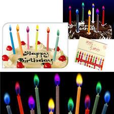 12 COLOURED CANDLES FLAMES RED PURPLE BLUE ORANGE CELEBRATION BIRTHDAY CUPCAKE