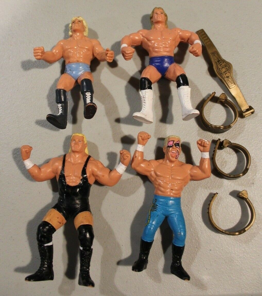 4 WCW 1990 figures w  belts Sting Ric Flair Sid Vicious Lex Luger Loose 100% HTF