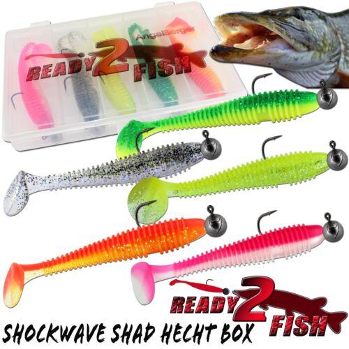 Ready2Fish Shockwave Shad mit Box Gummifisch Set mit Box Kunstköder