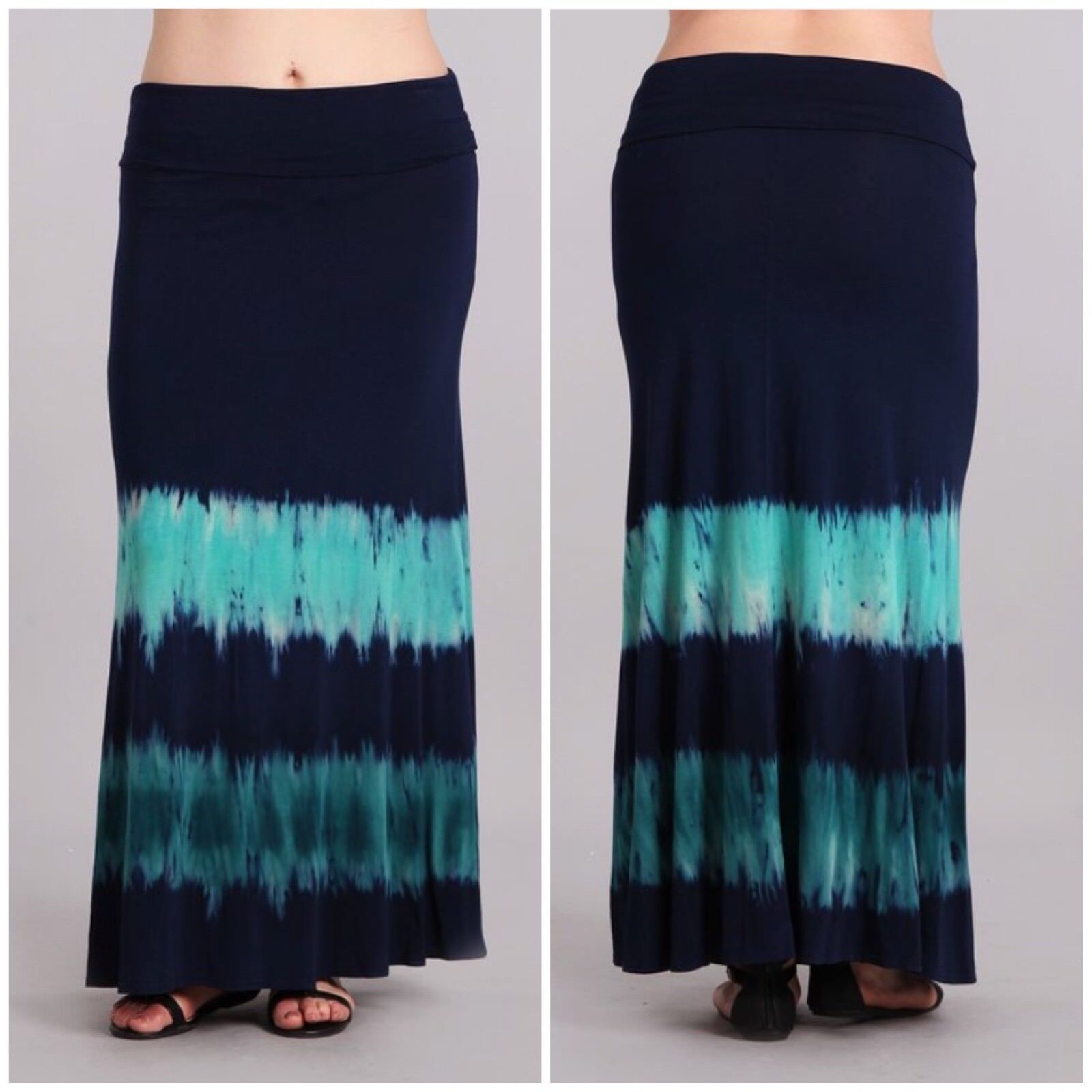 Plus Tie Dye Maxi Skirt Full Length High Waist Foldover 1X 2X 3X bluee Boho