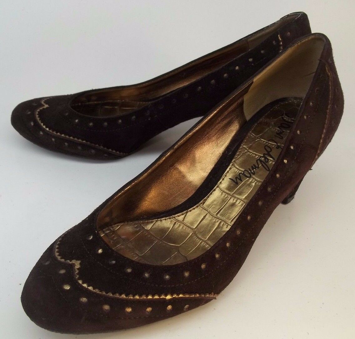 Sam Edelman Wos Shoes Pumps Heels YVONNE US 6M Brown Gold Trim Suede Slip-on