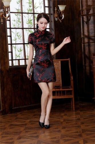 UK Stock Cherry Blossom Chinese Short Evening Party Fancy Dress Qipao Cheongsam