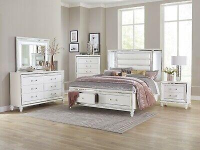 4 Pc White Mirrored Led Lights King Storage Bed Ns Dresser Bedroom Furniture Set Ebay