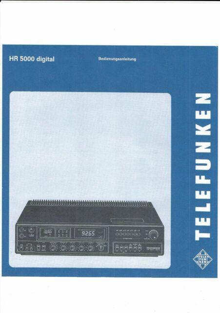 Telefunken Bedienungsanleitung für HR 5000 digital in deutsch  Copy