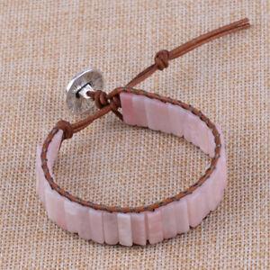 Pulsera-de-Cuero-cuentas-de-tubo-de-Piedra-opalo-rosa-brazalete-para-mujeres