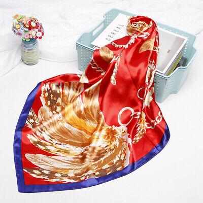 Women Vintage Scarf Baroque Style Feather Jewelry Print Shawl Hijab Wrap 90x90cm