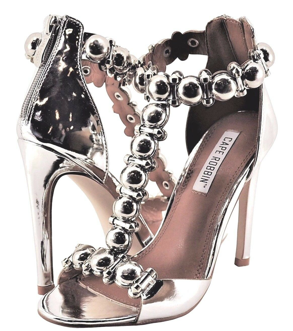 Women Shoe Cape Robbin Alza 40 Metallic T-Strap Studded Heels MX2228 Silver *New