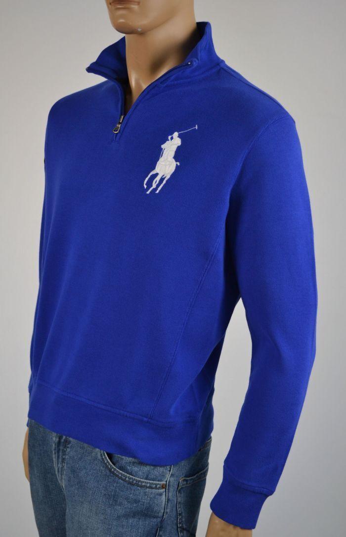 Ralph Lauren blueE WHITE BIG PONY 1 2 HALF ZIP SWEATER NWT S