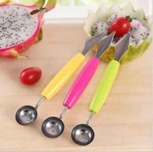 1XCream-Kitchen-Stainless-Steel-Scoop-Spoon-Double-End-Fruit-Melon-Cutter-Baller