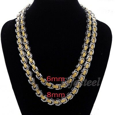 "Men's Boy's Gold Tone Stainless Steel Greek Key Pattern Chain Necklace 18""-40"""