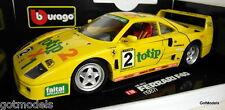 Burago 1/18 Scale 3022 Ferrari F40 Totip racing 1987 yellow diecast model car