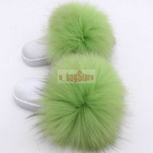Fluffy REAL RACCOON fourrure diapositives Pantoufle Plat Sandale Indoor Chaussures 2019 Femmes Chaussures