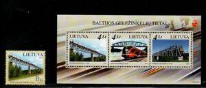 Lithuania-Sc-985-86-2012-Railway-Bridges-stamp-amp-souvenir-sheet-mint-NH