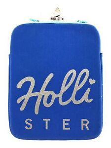 Hollister-Tablet-Case-Zip-Cover-Glitter-Bling-Logo-Padded-iPad-Blue