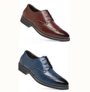 Homme-Oxford-Chaussures-en-cuir-formelle-robe-bout-pointu-Richelieu-a-bout-d-039-aile-Sculpture