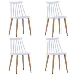 Sedia Da Cucina Plastica.Vidaxl 4x Sedie Da Pranzo Bianche In Plastica E Acciaio Seggiole