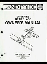 Land Pride 35 Series Rear Blade Illustrated Parts List Amp Owners Manual