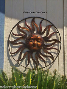 Image Is Loading Large Round Metal Sun Wall Decor Rustic Garden