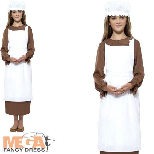 POVERA Ragazza Vittoriana Grembiule /& Cappello Costume Libro Day per Bambini Costume Accessorio