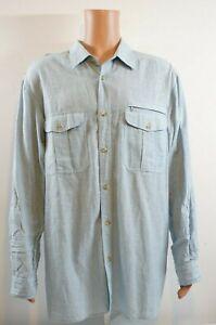 Eddie-Bauer-Men-039-s-Long-Sleeve-Shirt-Size-XXL-Blue-Linen-Button-down