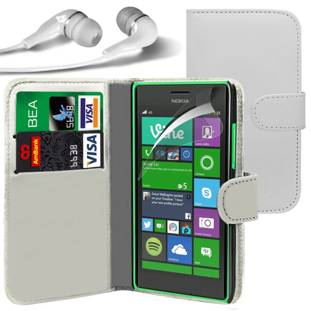 White PU Leather Wallet Flip Case Cover, LCD Film & Earphone For Various Phones