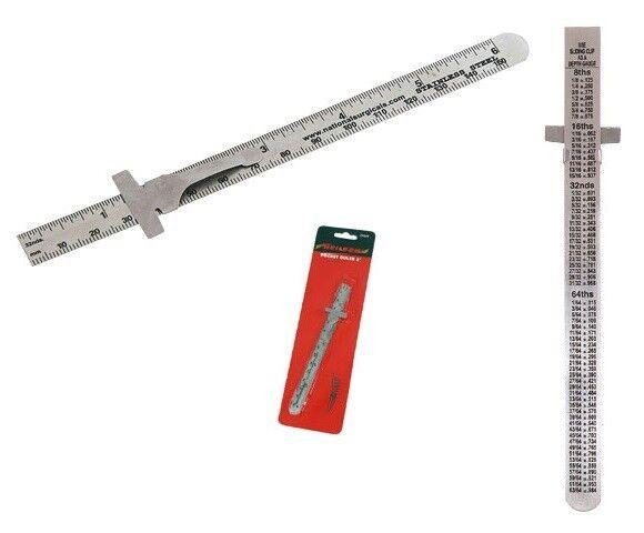 Rolson 150mm Stainless Steel Depth Gauge Rule With Pocket Clip Builders
