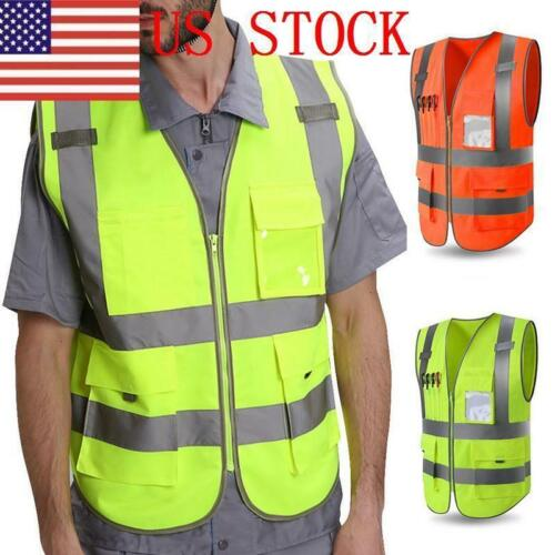 ILJ Men High Visibility Zipper Front Safety Vest with Reflective Strips New US