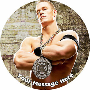 JOHN CENA WWE PERSONALISED EDIBLE ROUND PARTY CAKE DECORATION TOPPER