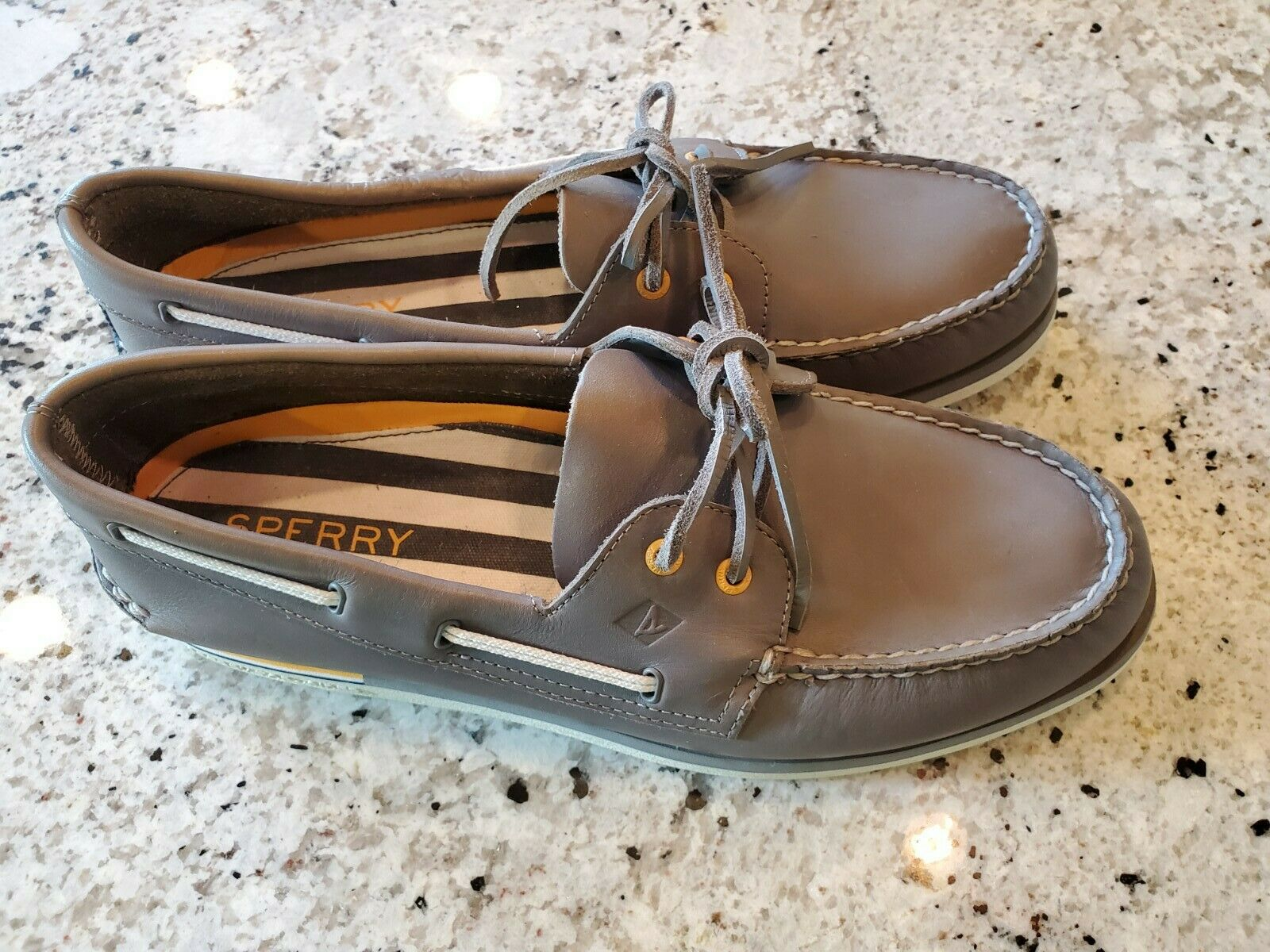 New SPERRY TOP-SIDER MEN'S GREY LEATHER LOAFER SHOES 13 M MSRP