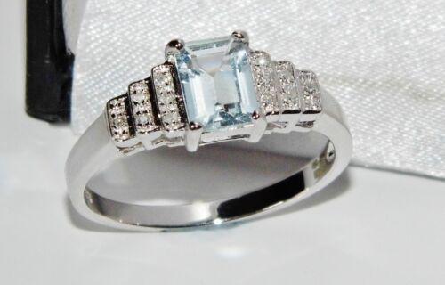 9 ct or blanc 1.00 Ct Aigue-Marine /& Diamant Bague Art Déco Taille P