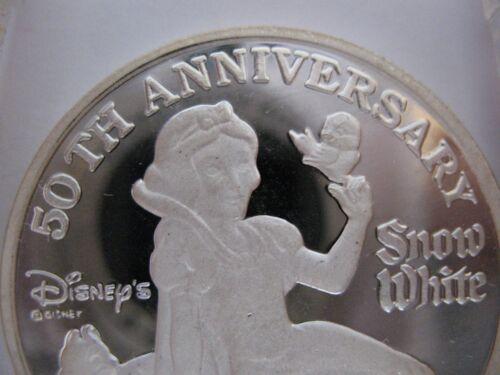 PURE .999 SILVER SNOW WHITE 7 DWARFS 50TH ANNIV KEY PROOF COIN GOLD 1 OZ