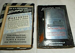 """VINTAGE ZIPPO LIGHTER """"THE FLORSHEIM SHOE CO. """" NEW IN BOX"""