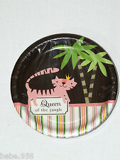 NEW~ QUEEN OF THE JUNGLE~ 8- DESSERT  PAPER PLATES  , CHILD   PARTY SUPPLIES