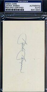 Jackie Jensen Rare Signed Psa/dna Certified 3x5 Index Card Authentic Autograph