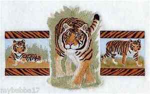 Tiger Bengal Embroidered Set 2 Bathroom Hand Towels By