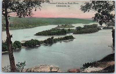 "Oregon, IL Postcard ""Thousand Islands on Rock River"" Hand-Colored Albertype"