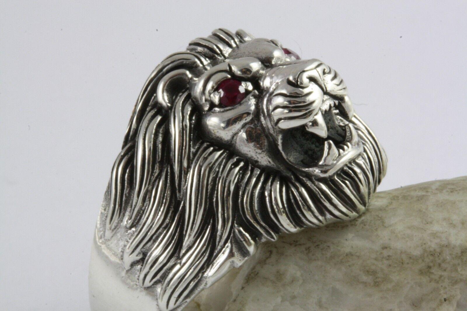 LÖWEN LION RING BIKER LÖWENKOPF RING silverRING ECHT 925 silver   499