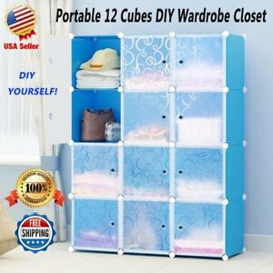 Portable Clothes Closet Wardrobe Cabinet Storage Organizer w/ Door 12Cube Blue P