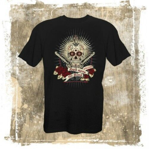 Oldschool Rockabilly Sugar-Skull T-shirt von King Lucky--GOD SAVE THE KING