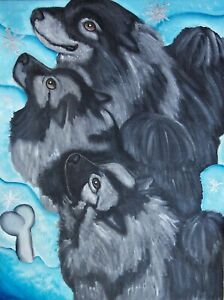 Winter-Intrigue-Keeshond-Collectible-Dog-Art-Print-8-x-10-Signed-by-Artist-KSams