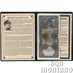 BENITO-MUSSOLINI-Dictator-of-Italy-5-Coins-amp-2-Banknote-Collection-in-Album