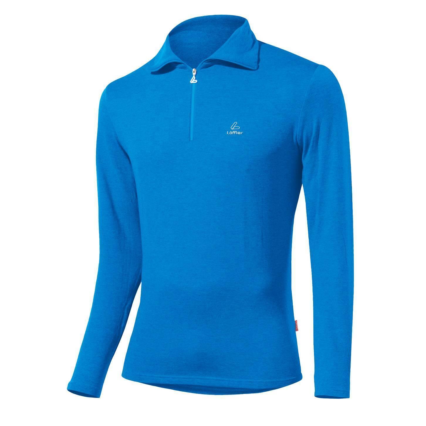 Löffler Herren Lauf Lauf Lauf Langlauf Ski langarm Shirt TRANSTEX ZIP-ROLLI BASIC blau 069356