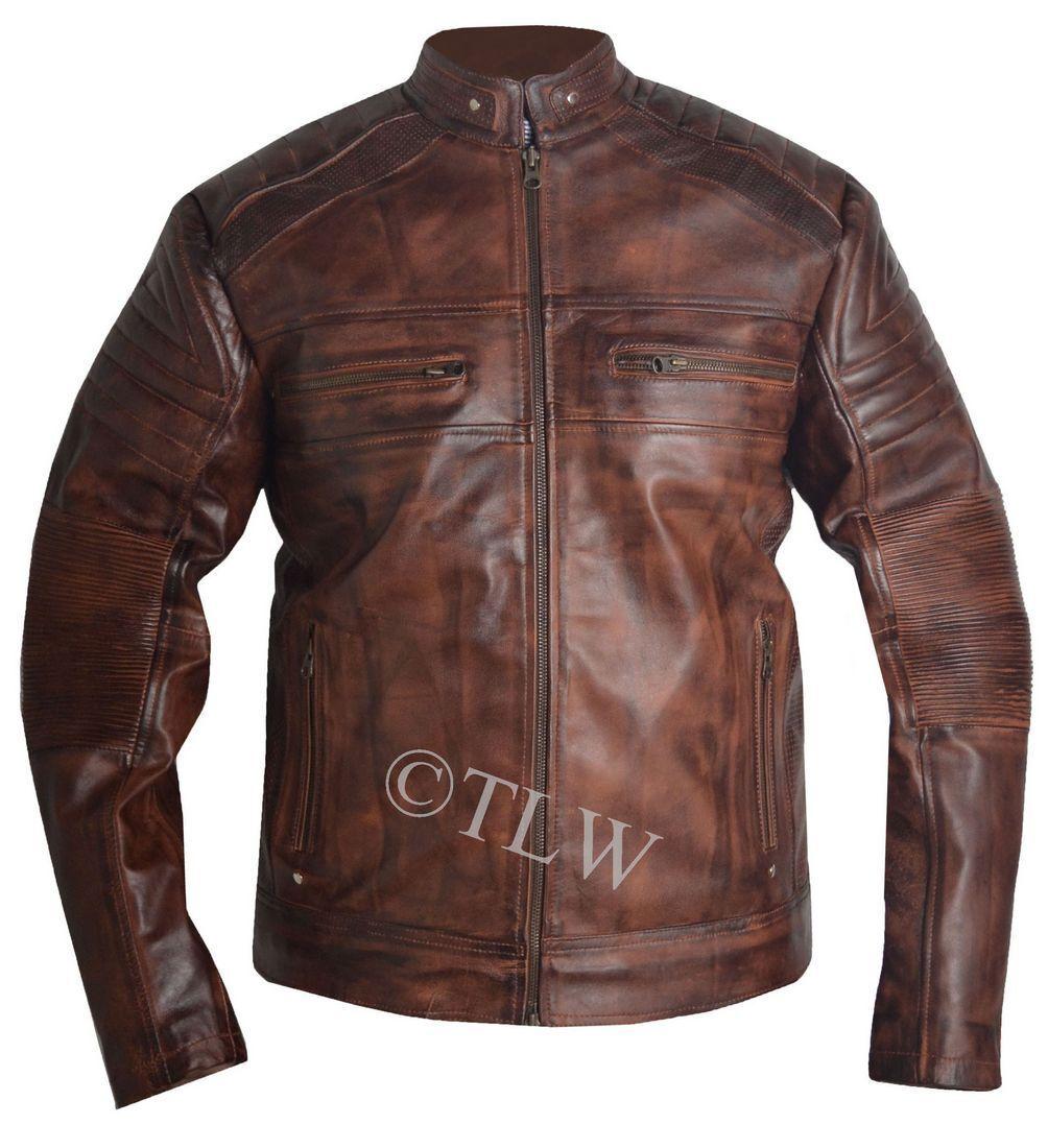 40543c03a8b Mens Biker vintage motorcycle distressed brown cafe racer oziyvd7183-Coats    Jackets