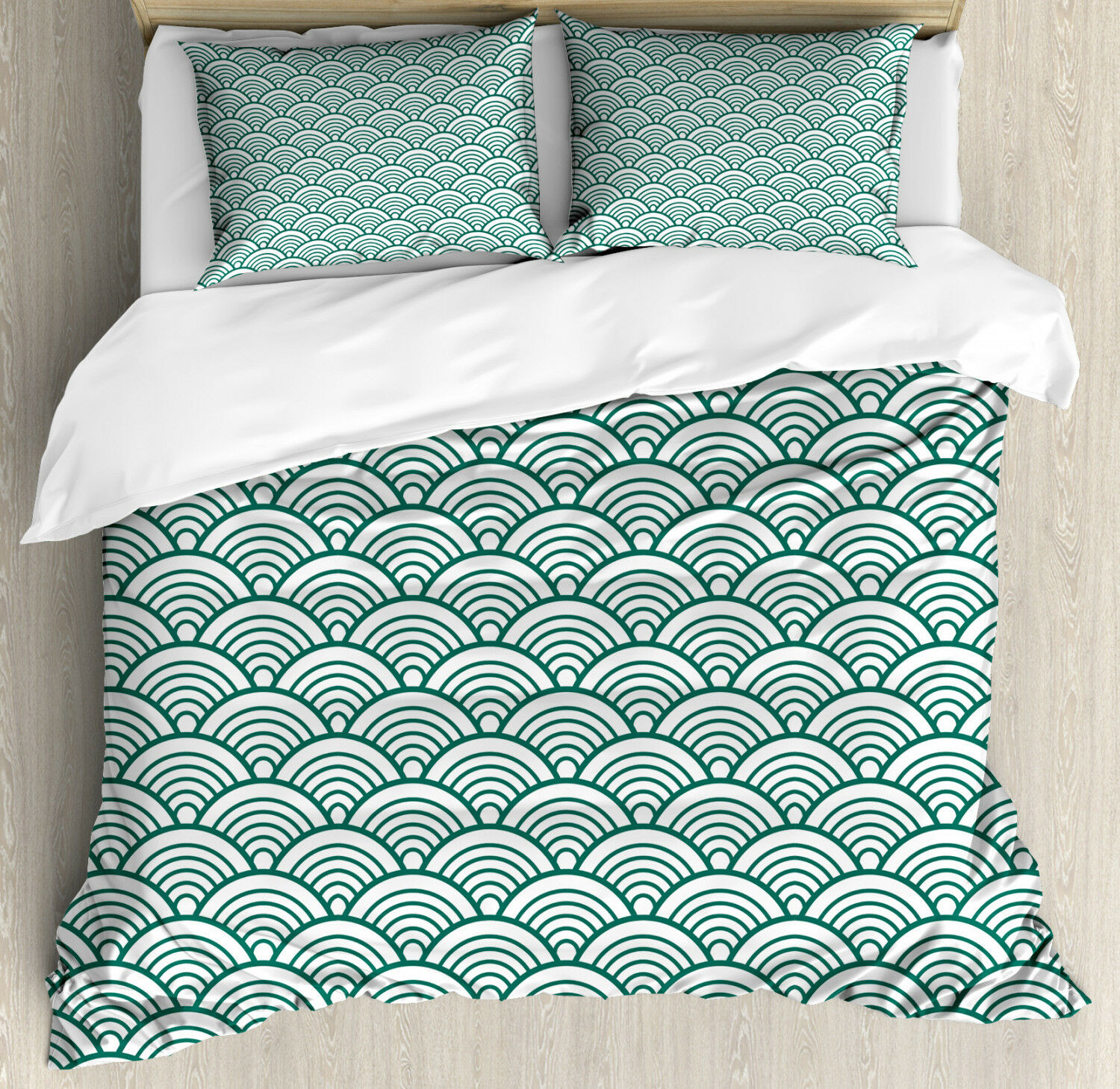Teal Duvet Cover Set with Pillow Shams Asian Seigaiha Scales Print