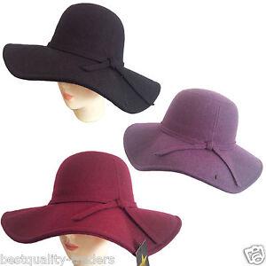 Women-soft-floppy-Wide-Brim-Cloche-fedora-dress-hat-retro-goth-wool-bowknot-band