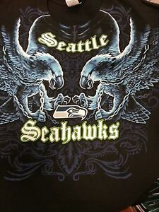 SEATTLE SEAHAWKS New with tags FACE - OFF T-Shirt BLACK shirt NFL  4069f7105